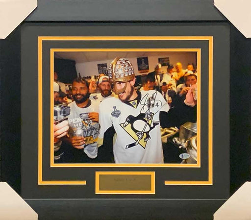 Sidney Crosby Signed Wearing Warrior Helmet 11x14 Photo - Professionally Framed