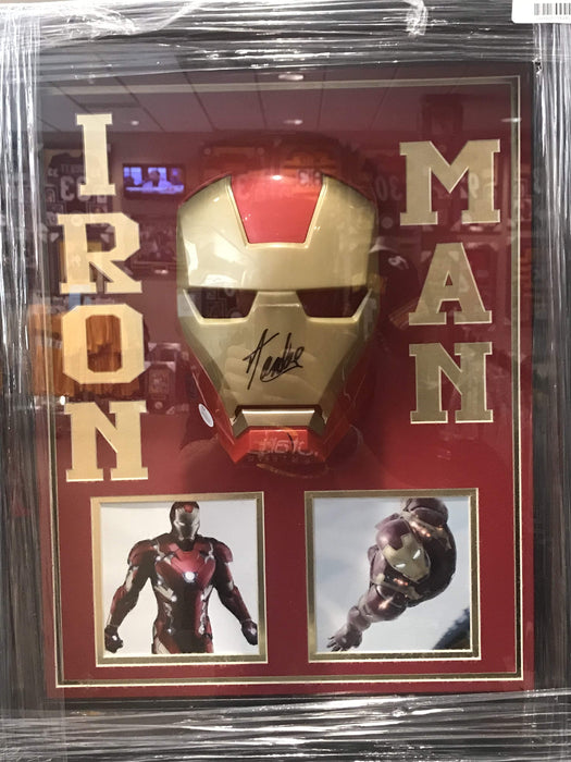 Stan Lee Signed Iron Man Mask with Photo Shadowboxed