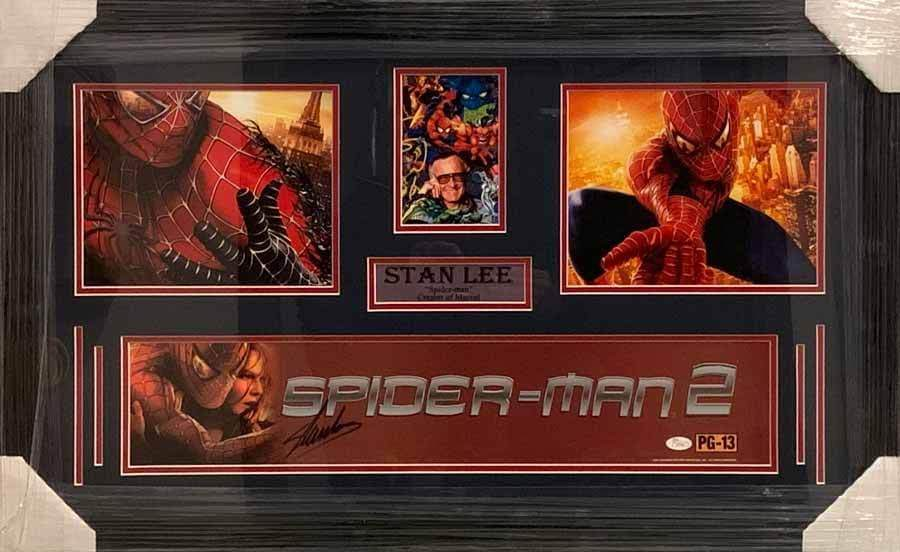 Stan Lee Signed Spiderman 2 Sign with Multiple Pictures - Professionally Framed Default Title