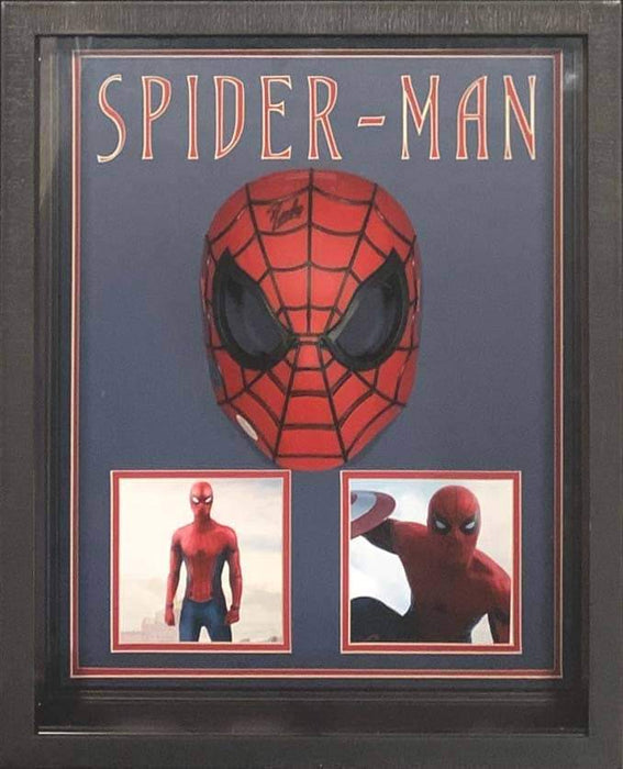 Stan Lee Signed Spiderman Mask with Avenger Photos Shadowboxed