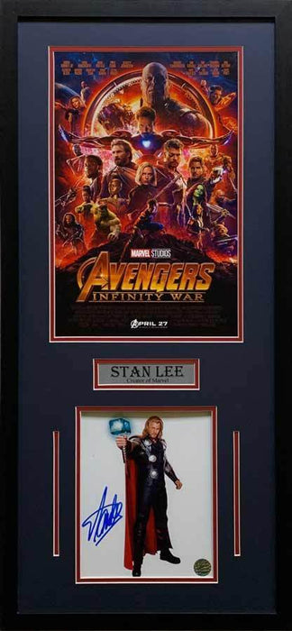 Stan Lee Signed Thor Holding Out Hammer 8x10 with Infinity War 11x17 Movie Poster - Professionally Framed