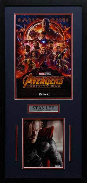 Stan Lee Signed Thor Looking Down 8x10 with Infinity War 11x17 Movie Poster - Professionally Framed