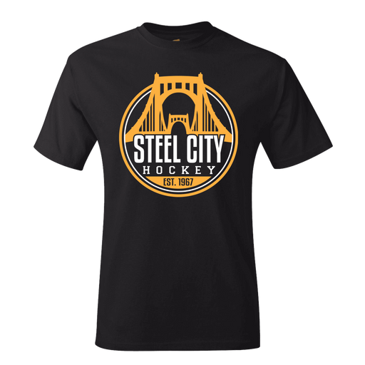Fan Apparel PENGUINS Steel City Hockey Black T-shirt