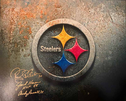 Steeler Logo Custom Graphic Signed by Jack Ham, Rocky Bleier and Andy Russell 16x20 Photo
