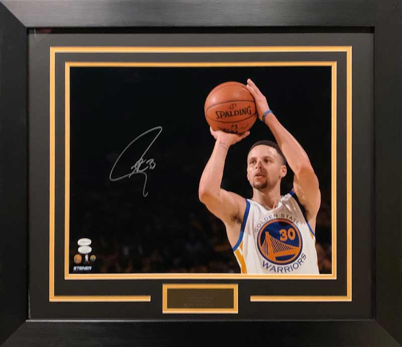 Stephen Curry Signed Getting Ready to Shoot 16X20 - Professionally Framed