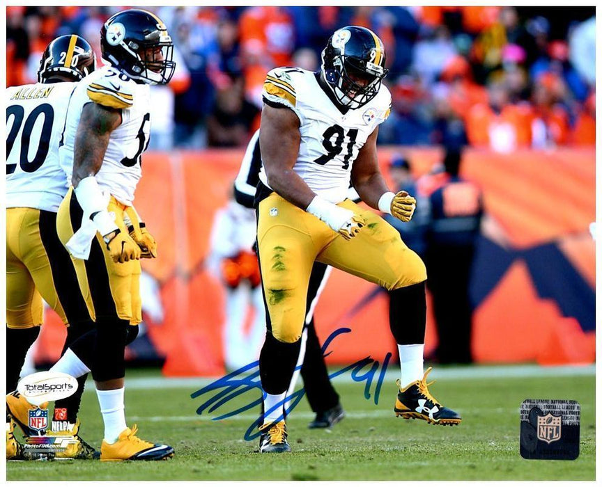 Stephon Tuitt Autographed Celebrating in White 8x10