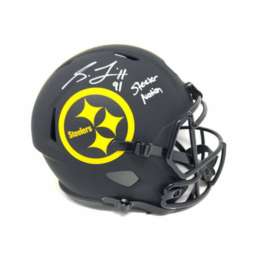 Stephon Tuitt  Autographed Pittsburgh Steelers Black Eclipse Full Size Replica Helmet with Steeler Nation