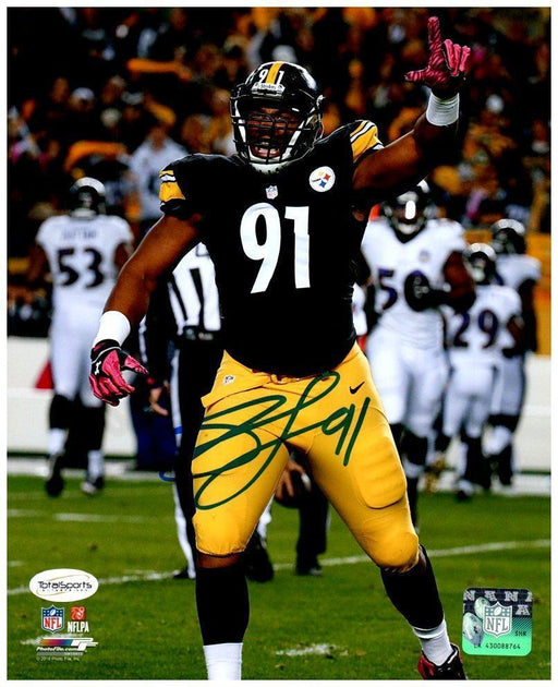 Stephon Tuitt Autographed Pointing Up in Black 8x10