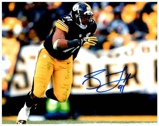 Stephon Tuitt Signed Attacking Signed 16x20 Photo