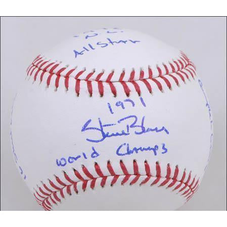 Steve Blass Official MLB Baseball - Autographed and STAT inscribed