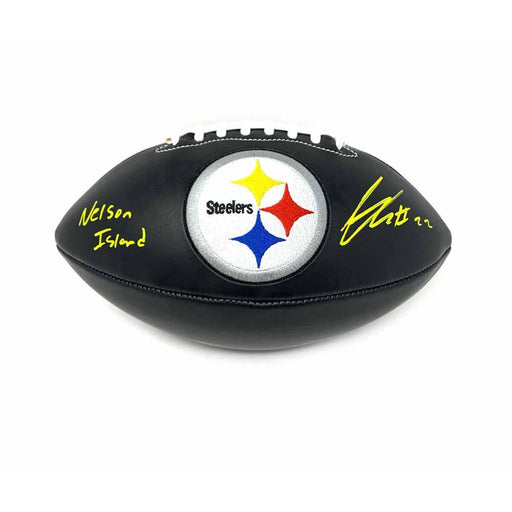 Steven Nelson Signed Pittsburgh Steelers Black Logo Football with Nelson Island