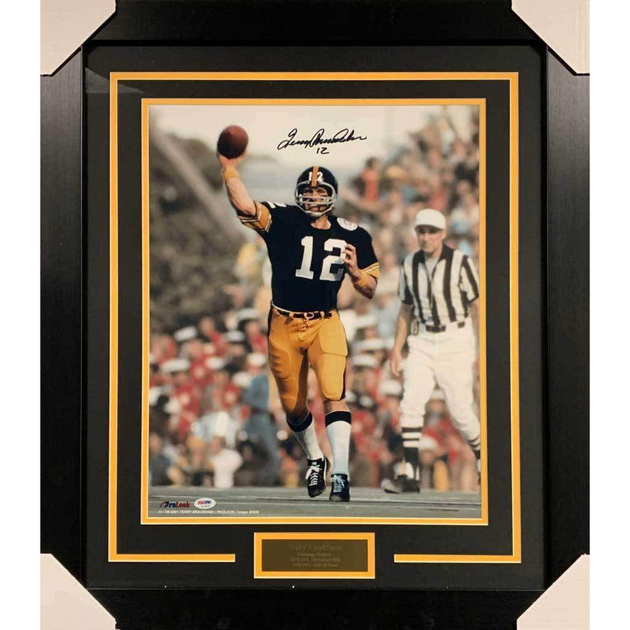 59f7d5346 Terry Bradshaw Signed Throwing Football 16x20 Photo - Professionally Framed  Default Title
