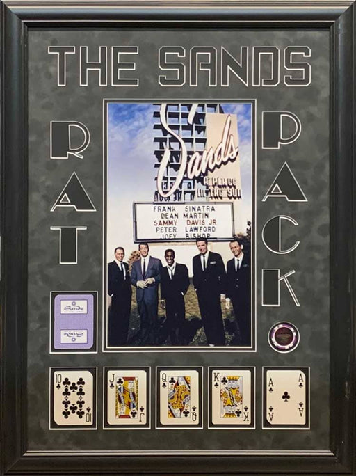 The Rat Pack 11x17 Sands Casino Poster with Clubs Royal Flush and Casino Chip - Professionally Framed