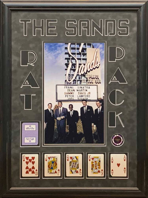The Rat Pack 11x17 Sands Casino Poster with Hearts Royal Flush and Casino Chip - Professionally Framed
