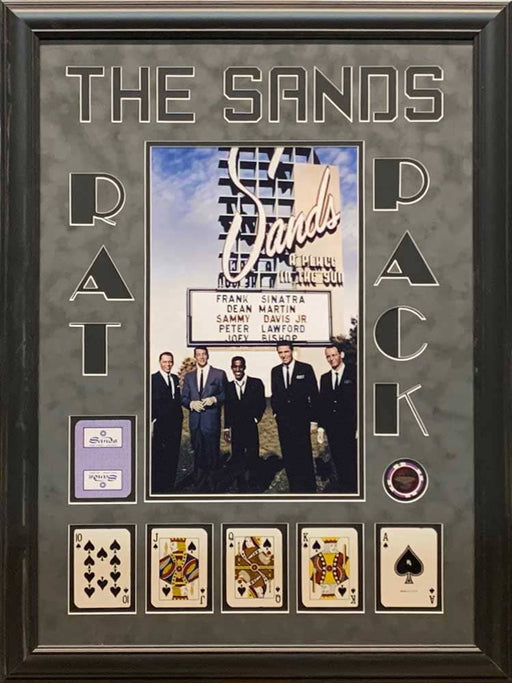 The Rat Pack 11x17 Sands Casino Poster with Spades Royal Flush and Casino Chip - Professionally Framed