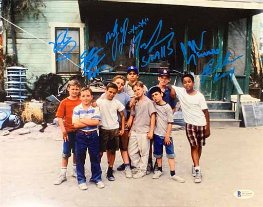 The Sandlot Cast Signed Group in Front of House 16x20 Photo