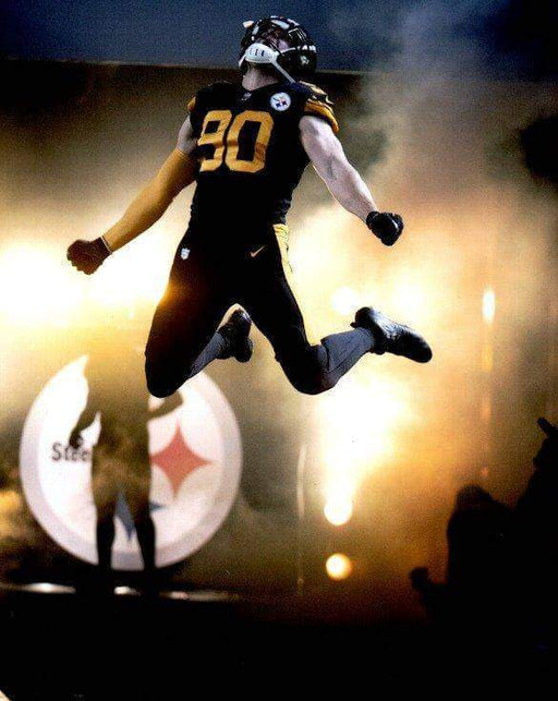 TJ Watt Entrance Leap in Color Rush Unsigned 8x10 Photo