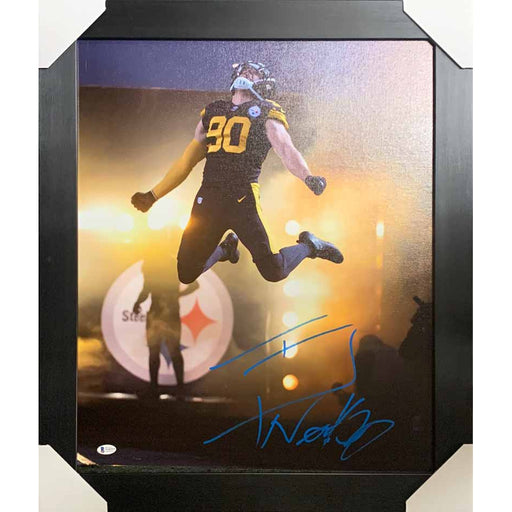 TJ Watt Signed Leaping Entrance 16x20 Canvas - Professionally Framed