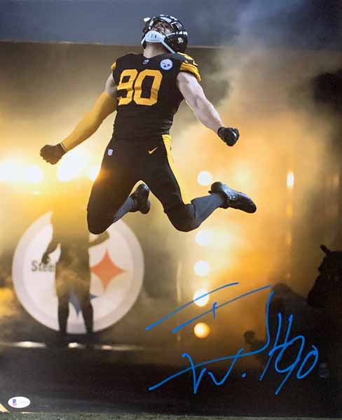 Tj Watt Signed Leaping Entrance In Color Rush 16X20 Photo