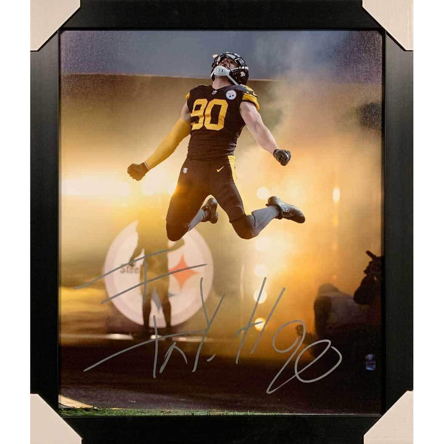 TJ Watt Signed Leaping Entrance in Color Rush 20x24 Canvas - Professionally Framed Default Title