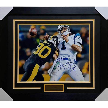 TJ Watt Signed Sacking Newton 16x20 Photo - Professionally Framed