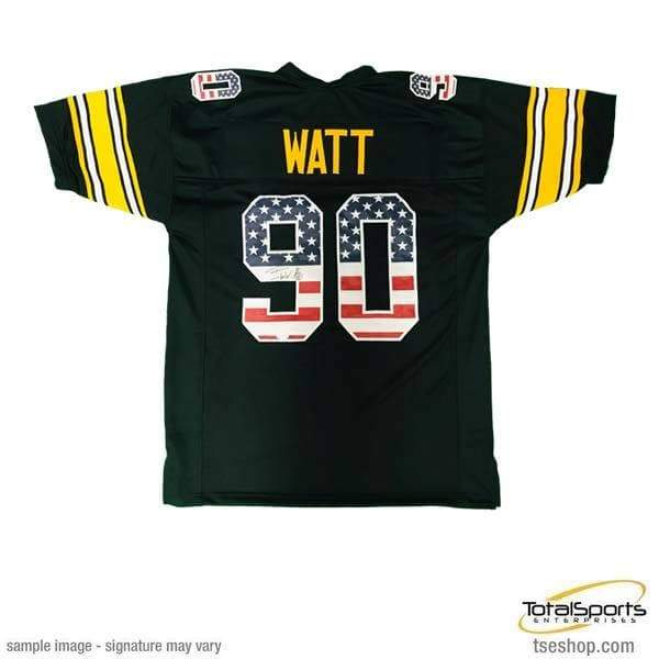 newest collection 5e969 d5cb1 TJ Watt Signed Stars and Stripes Custom Football Jersey