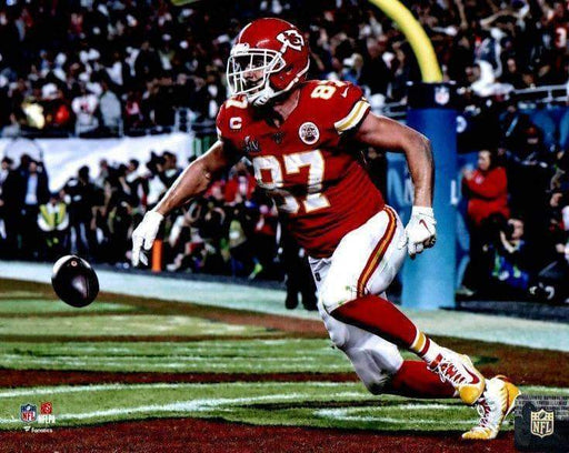 Travis Kelce in End Zone Unsigned Horizontal 8x10 Photo
