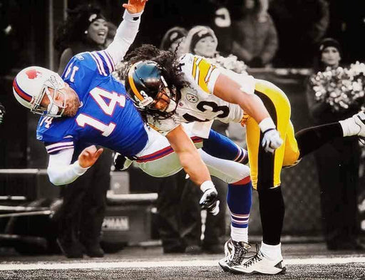 Troy Polamalu Hitting BIlls Spotlight Unsigned 8x10 Photo