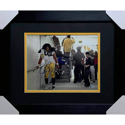 Troy Polamalu Signed Coke Commercial Remake 11x14 Photo - Professionally Framed