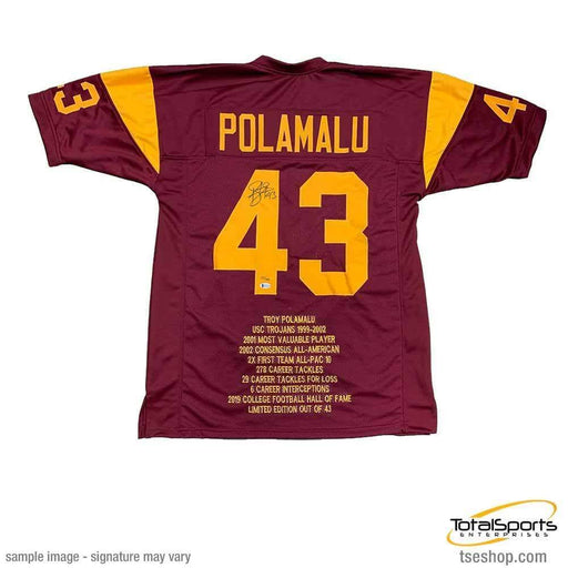 Troy Polamalu Signed Custom College STAT Jersey