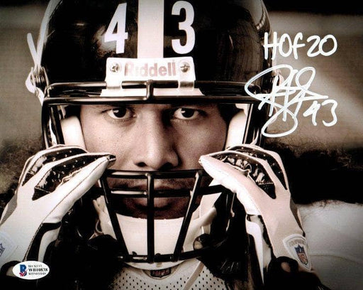 Troy Polamalu Signed Grabbing Mask 16x20 Photo with HOF 20 - DAMAGED