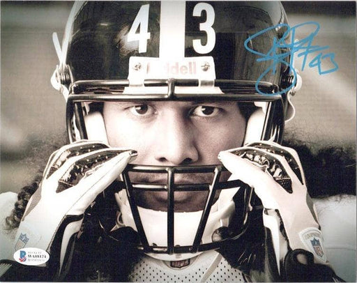 Troy Polamalu Signed Grabbing Mask 20x24 Photo