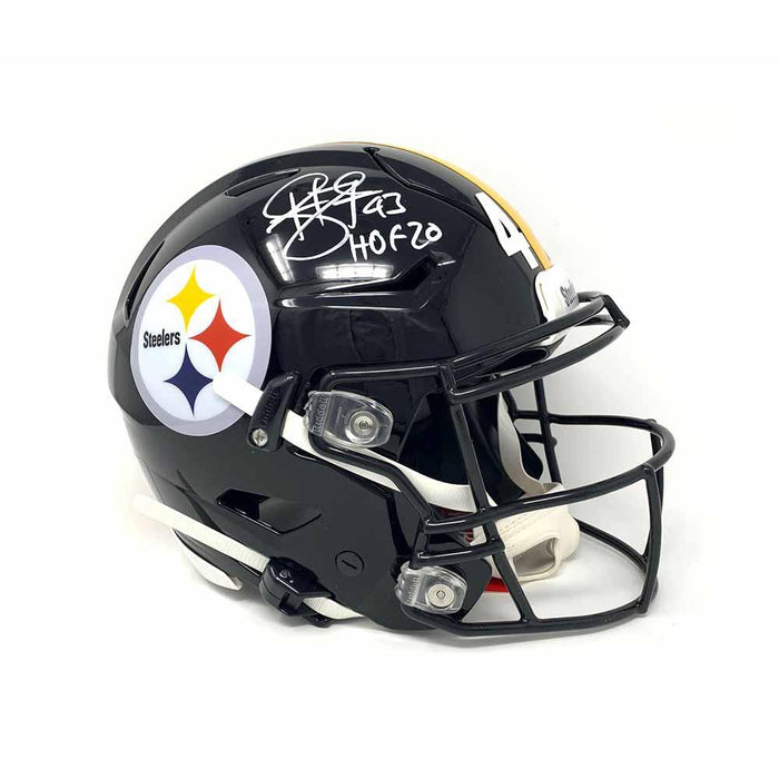 Troy Polamalu Signed Pittsburgh Steelers Black Full Size Speed Flex Authentic Helmet with HOF 20