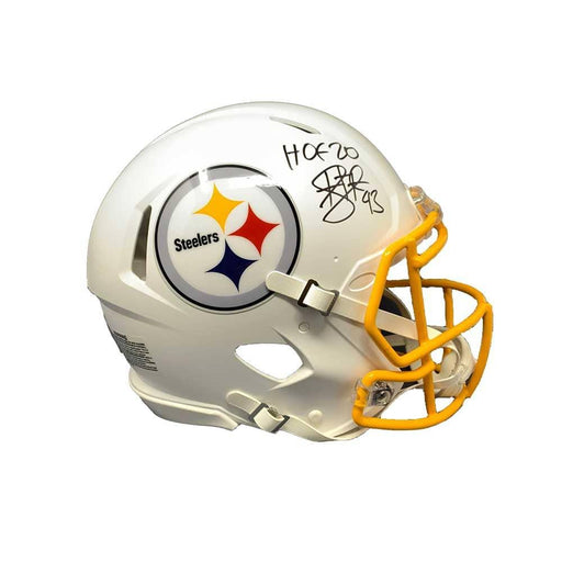Troy Polamalu Signed Pittsburgh Steelers WHITE MATTE SPEED Authentic Helmet with HOF 20