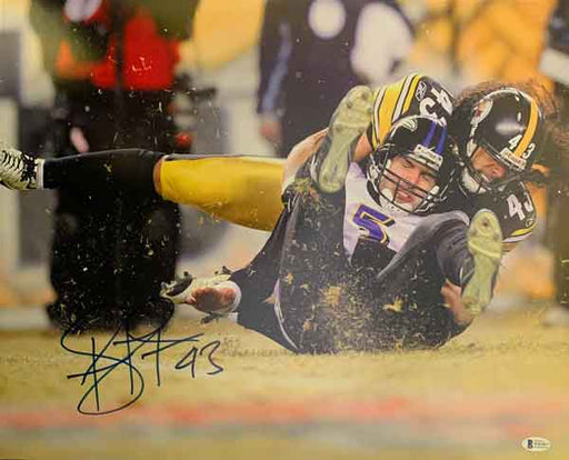 Troy Polamalu Signed Sacking Flacco 16x20 Photo