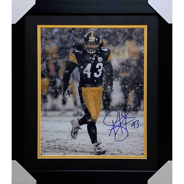 Troy Polamalu Signed Snow 16x20 Photo - Professionally Framed