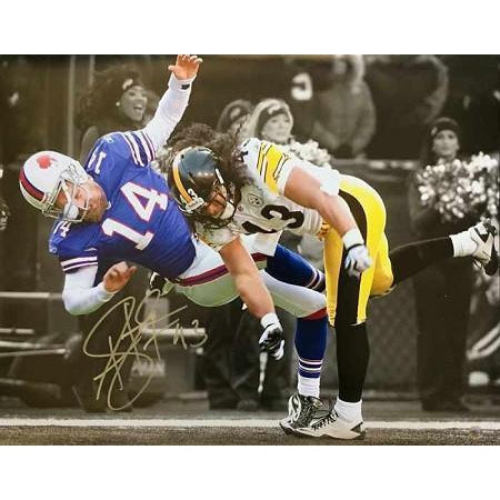 4881e0d3634 Troy Polamalu Smashes Bill s QB Signed 8x10 - Professionally Framed