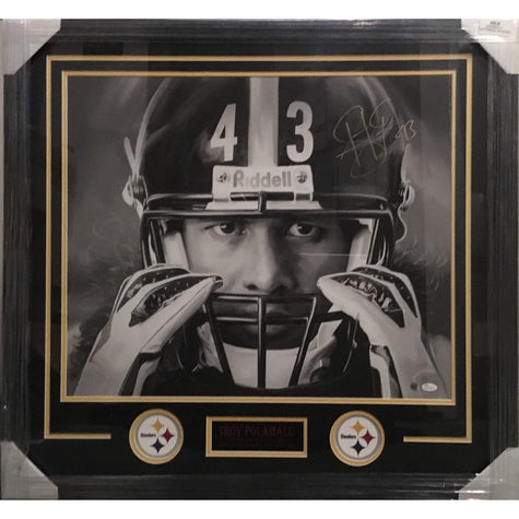 Troy Polamalu TSE Exclusive Canvas - Hands on Mask Signed 20x24 - Professionally Framed