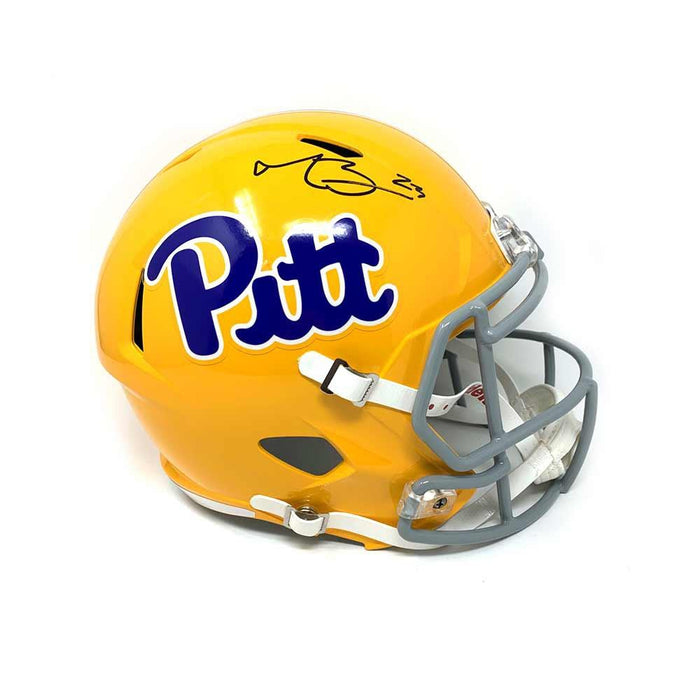 Tyler Boyd Signed PITT Full Sized Yellow Speed Helmet with Gray Face Mask