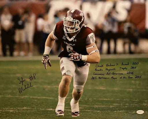 Tyler Matakevich Autographed Temple Taking Off in Red 16x20 Photo with 4 Awards Inscriptions