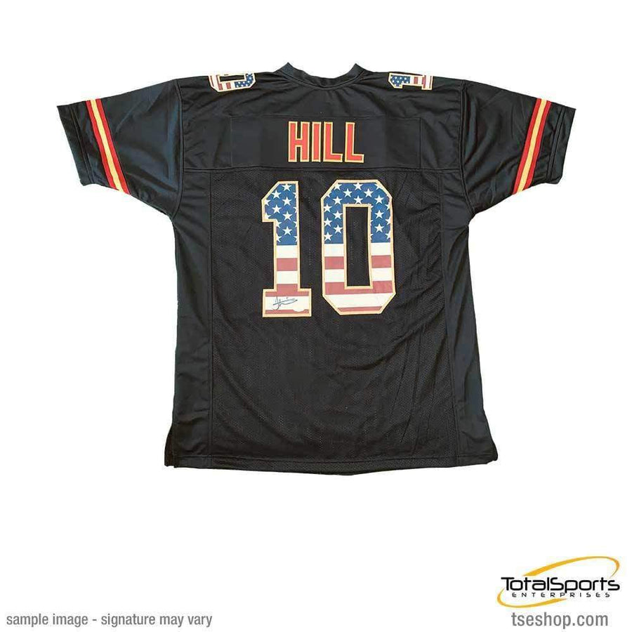 Tyreek Hill Signed Custom Black Stars and Stripes Jersey
