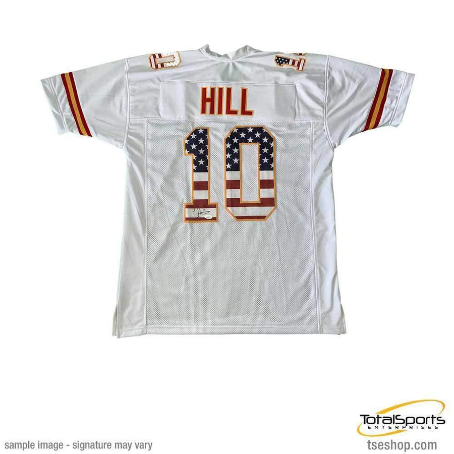 Tyreek Hill Signed Custom White Stars and Stripes Jersey