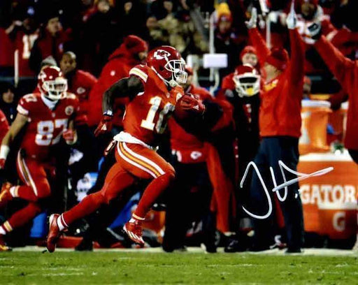 Tyreek Hill Signed Running with Ball in All Red Horizontal 8x10 Photo
