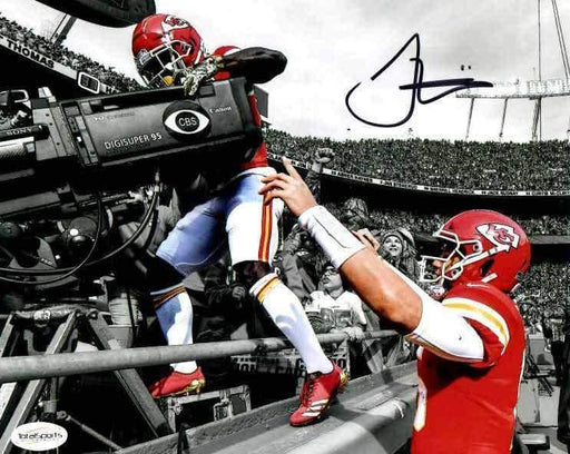 Tyreek Hill Signed Spotlight Close-up Behind TV Camera with Mahomes Horizontal 8x10 Photo