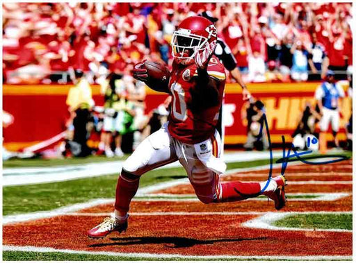 Tyreek Hill Signed Waving in End Zone 8x10 Photo