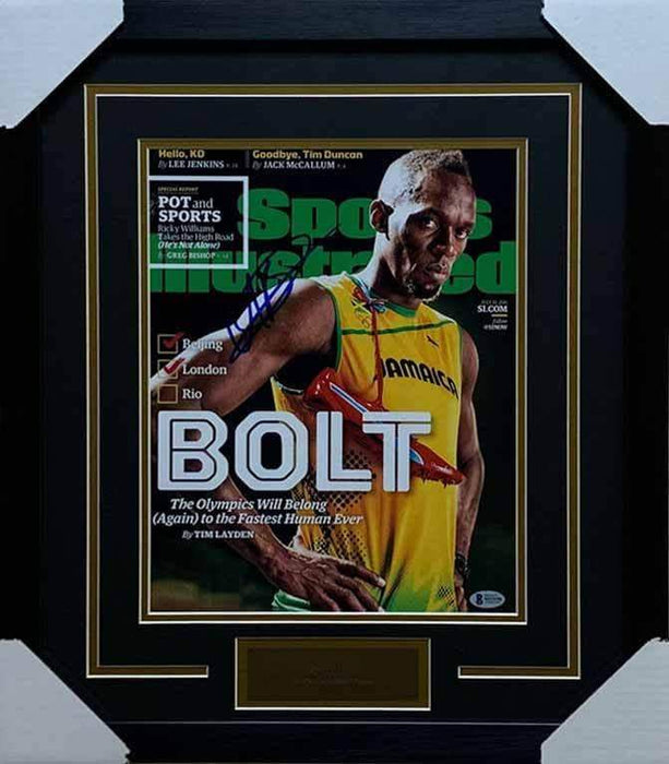 Usain Bolt Autographed 11x14 Sports Illustrated BOLT - Professionally Framed