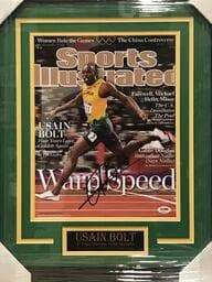 Fan Photo CELEBRITY Usain Bolt Autographed 11x14 Sports Illustrated Warp Speed - Professionally Framed