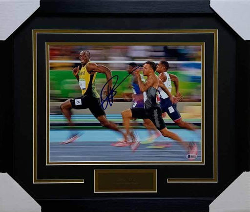 Usain Bolt Autographed 11x14 You Can't Catch Me (Black Mat) - Professionally Framed