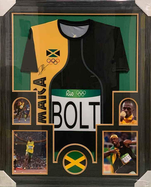 Usain Bolt Autographed Olympics Jamaica Jersey - Professionally Framed