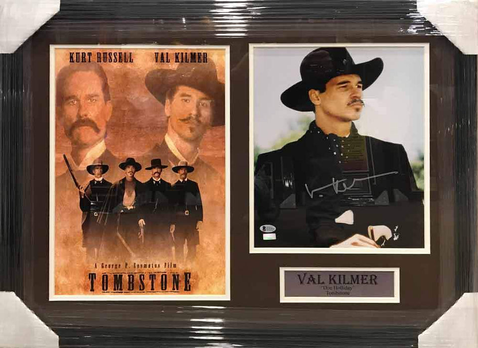 Val Kilmer Autographed 11x14 Doc Holiday Profile Photo with Tombstone 11x17 Movie Poster - Professionally Framed